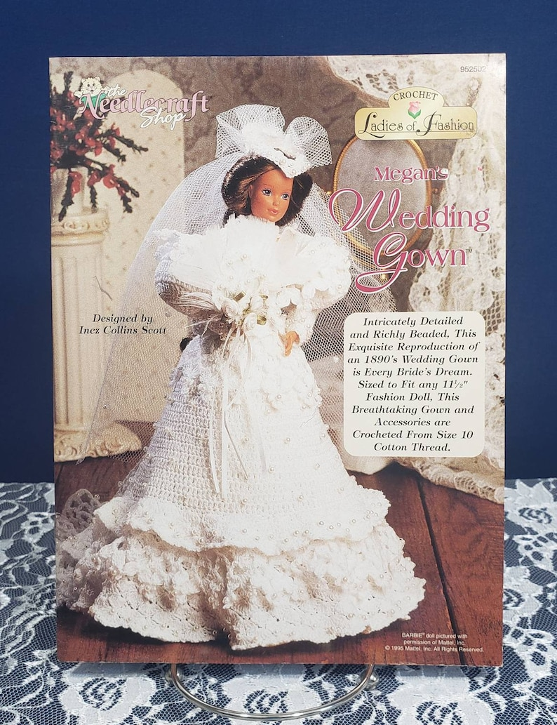 Who Designed Megan S Wedding Dress.Vintage Crochet Pattern Book Megan S Wedding Gown