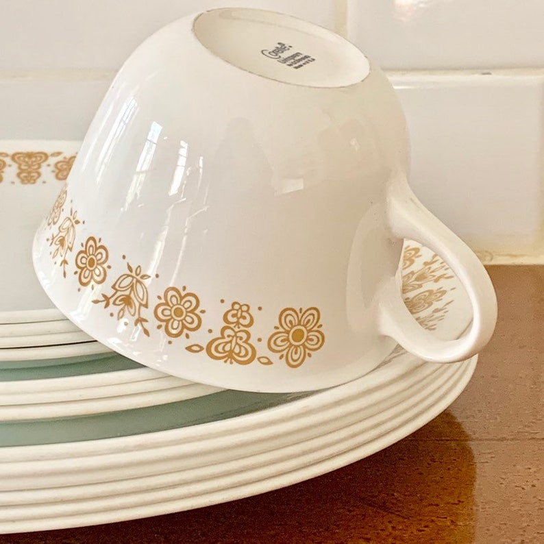 Corelle Butterfly Gold, Corelle Dinner Plates, Cereal Bowls, Serving  Platter, Cups and Saucers, Gold And White Corelle, Replacements
