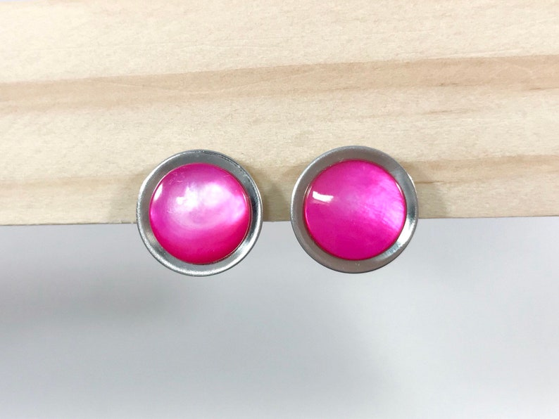 b0b21e05a71 Hot Pink Earrings Vintage Clip On Hot Pink Moon Glow Round