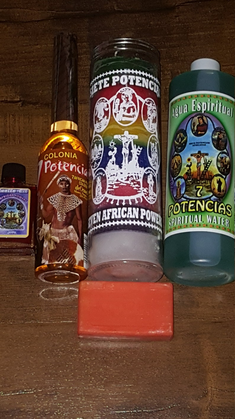 EXOTIC EDITION***7 African Powers-XXL Oil (1oz) X 7 Day Candle X Crusellas  Perfume X Spiritual Water X Soap X Herb Pack