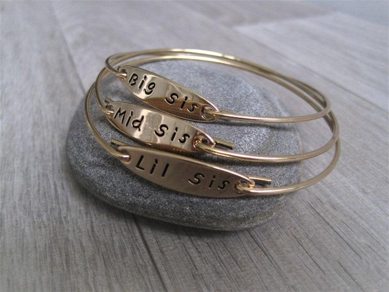 Little sis bracelet set 3 Sister Bangles Big sis sister jewellery set 3 sister gift set of 3 Sister Bracelets Middle Sis Sister gift