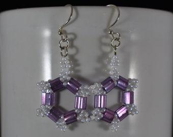Amethyst and White Dangle Earrings