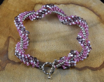 Pink and Purple Spiral Rope Bracelet