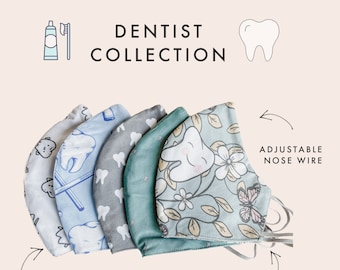Dentist TOOTH Collection   Face Mask with Nose Wire Filter   Protective 3 layers   Reusable and Washable
