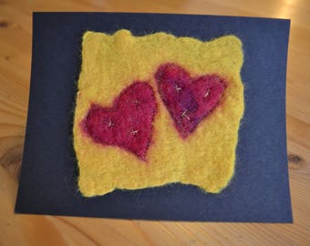 Unique handmade felted Valentine's card