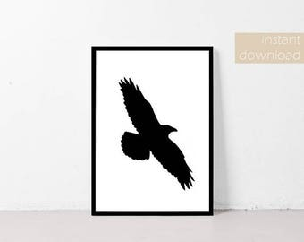 Printable Wall Art | Home Decor Printable | Flying Crow