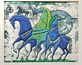 Eames Etruscan Horse Fabric, horses, chariot, Blue Green, Vintage Lrg Mid Century Modern Fabric wall art picture,machine quilted, Original