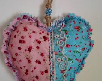Hanging Fabric Heart Decoration