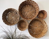 Wall Basket Set of 5 - Boho Home Decor - Vintage Baskets - Wicker Wall Baskets - Baskets Gallery Wall