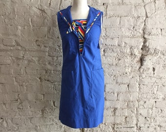 1960s Leisure Lady adorable blue cotton sailor style dress