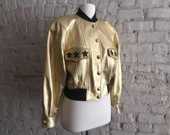 37789ed1e445 1980s Escada by Margaretha Ley iconic gold leather stars jacket
