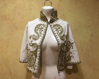 Turkish Victorian era wool cape with metallic gold couching