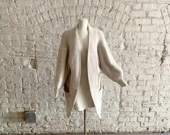 Vintage 80s claude montana bone angora   cashmere long open cardigan  sweater coat 51c43ff34
