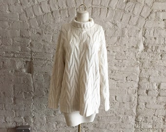 Vintage 80s DKNY ivory cotton angora cable knit turtleneck sweater 60bc3cccc