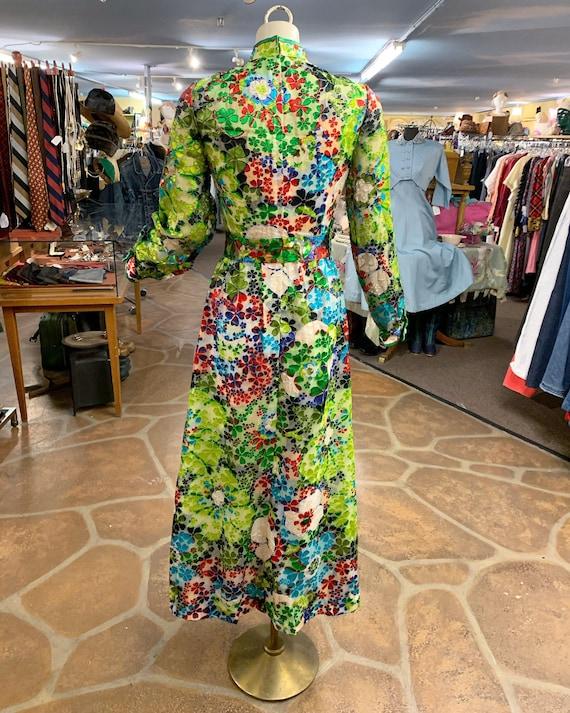 Vintage 60s 70s burnout velvet hostess dress gown… - image 8