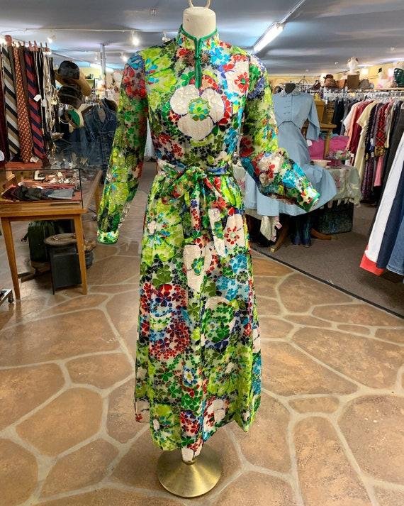 Vintage 60s 70s burnout velvet hostess dress gown… - image 2