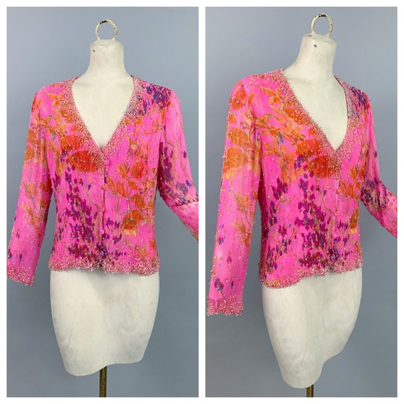 Vintage 80s Emanuel Ungaro silk chiffon top | 1980