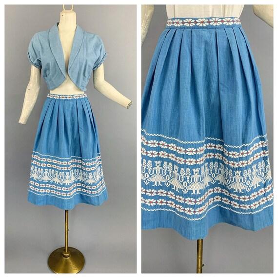 Vintage 40s 50s Guatemalan folk skirt | 1940s 1950