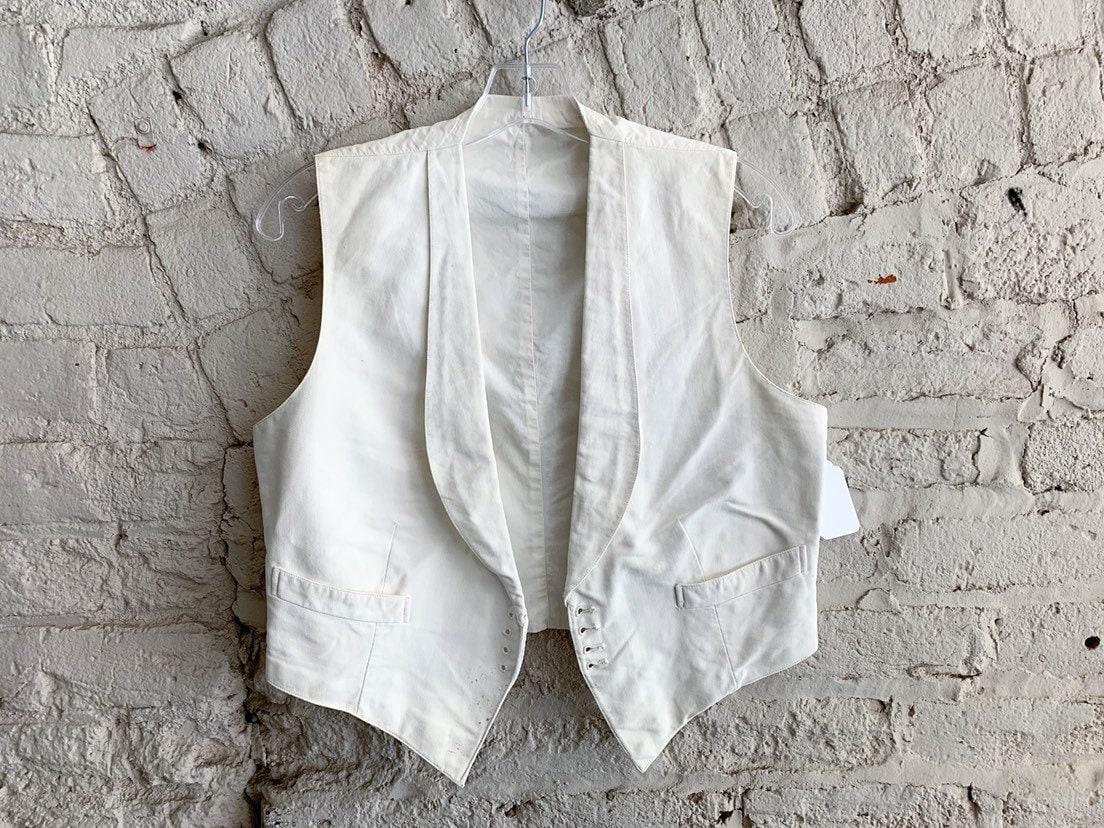 New 1930s Mens Fashion Ties Vintage 30S Craven  Son Ltd Antique White Waistcoat Vest Mens Suiting $0.00 AT vintagedancer.com