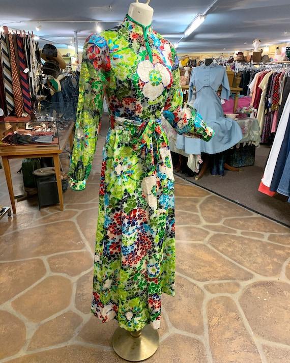 Vintage 60s 70s burnout velvet hostess dress gown… - image 6