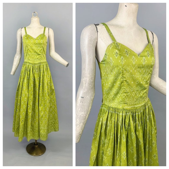 Vintage 40s 50s chartreuse gown | 1940s 1950s Indi
