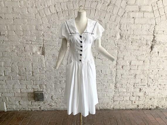 Vintage 80s sailor dress | 1980s white cotton sail