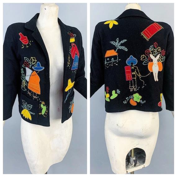 Vintage 40s Mexican wool felt bolero jacket | 1940