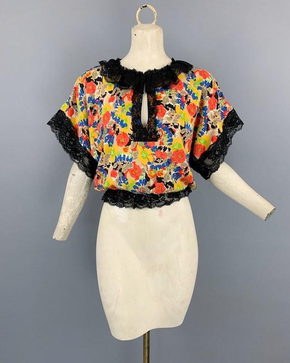 Vintage 70s 80s Koos van den Akker floral lace blo