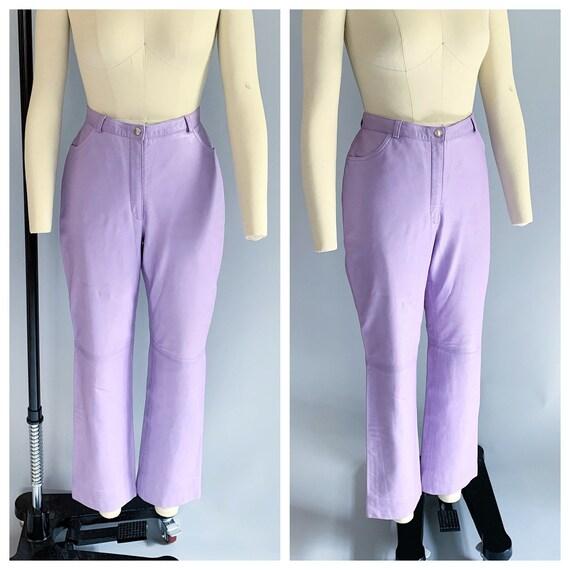 Vintage 90s Escada lavender leather pants | Vintag