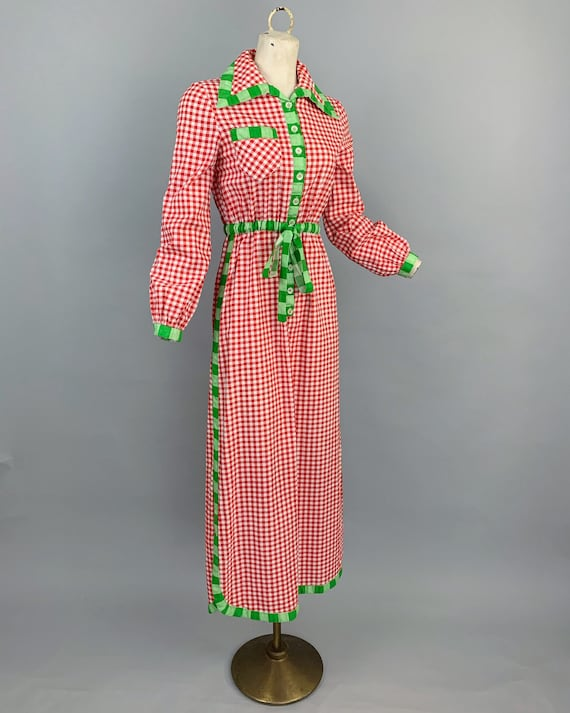 Vintage 70s Oscar de la Renta Boutique gingham dr… - image 6