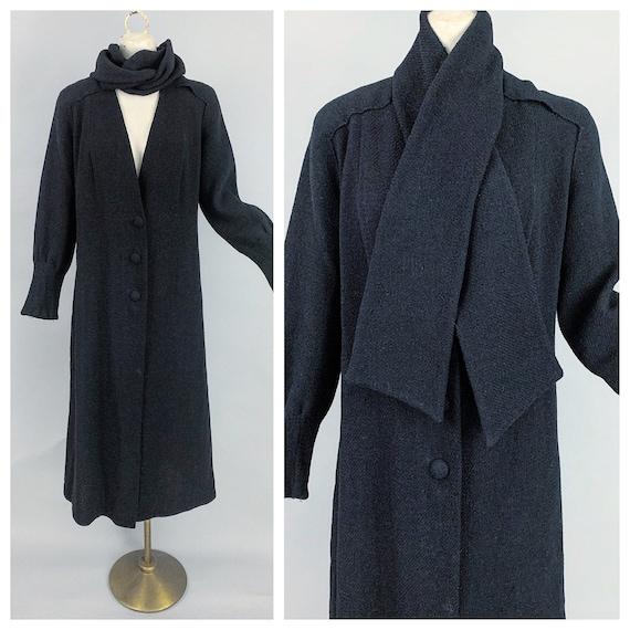 Vintage 30s wool coat | 1930s deco lightweight bla
