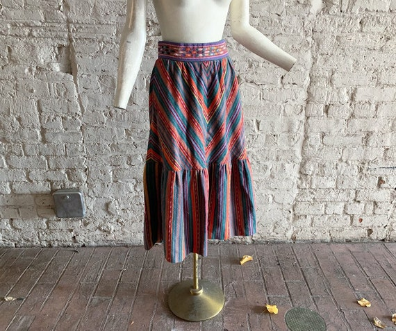 Vintage 70s Roger Lavalle cotton flannel skirt | 1