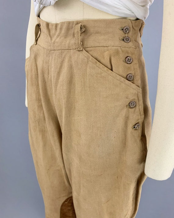 Vintage 40s khaki riding jodphurs   1930s 1940s l… - image 5