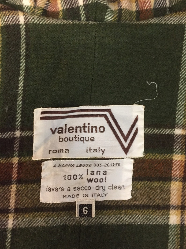 Vintage 70s Valentino Boutique tan wool cape poncho blanket coat with hood  and green plaid wool lining