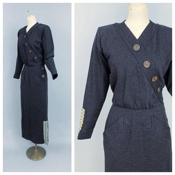 Vintage Yves Saint Laurent RIVE GAUCHE wool dress… - image 1