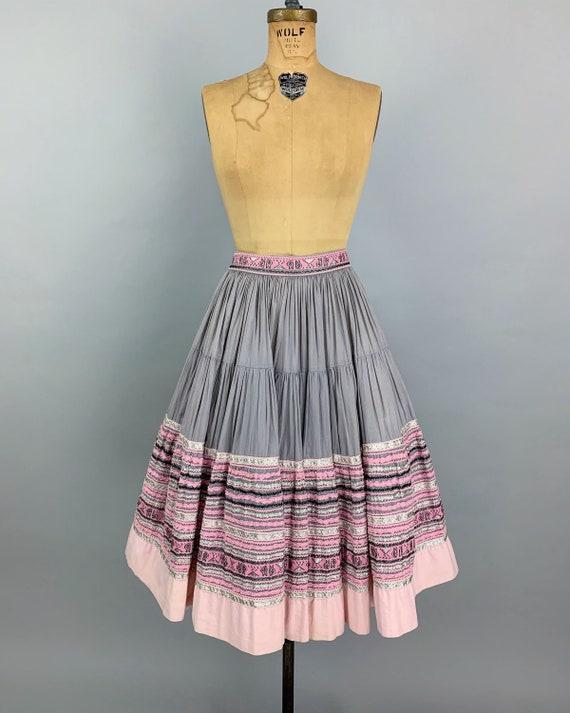 Vintage 50s circle patio skirt | 1950s pink & sil… - image 2