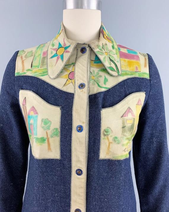 Vintage 70s denim handpainted leather suit | 1970… - image 3