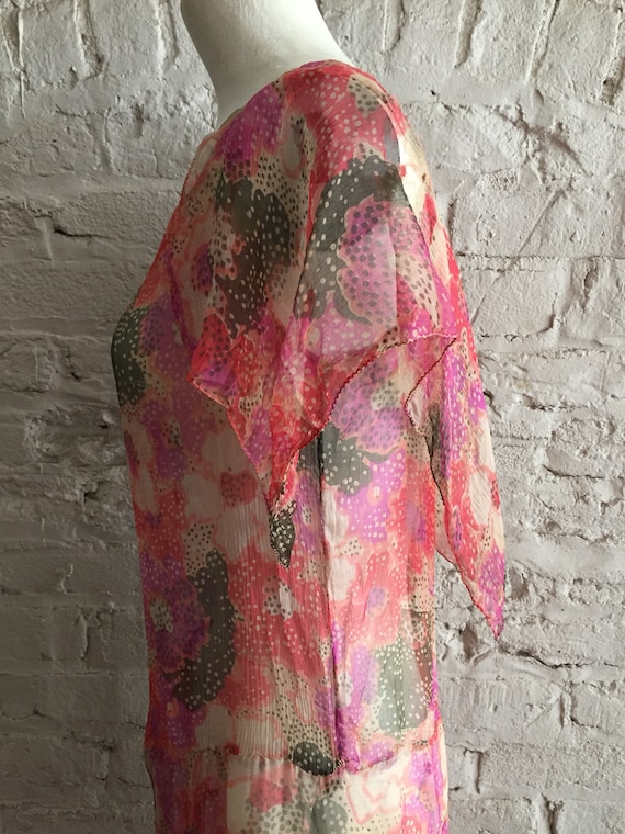 1920s/1930s sheer silk chiffon floral scarf hem d… - image 2