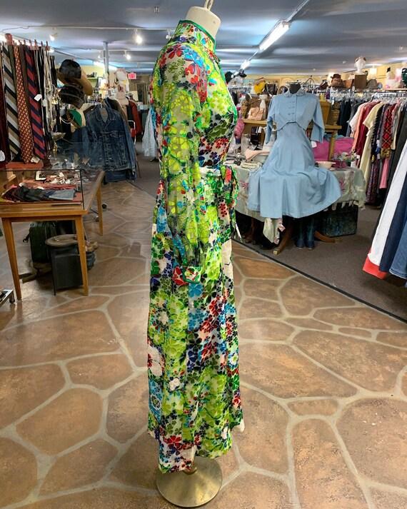 Vintage 60s 70s burnout velvet hostess dress gown… - image 7