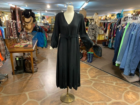 Vintage 30s black dress | 1930s semi sheer black r