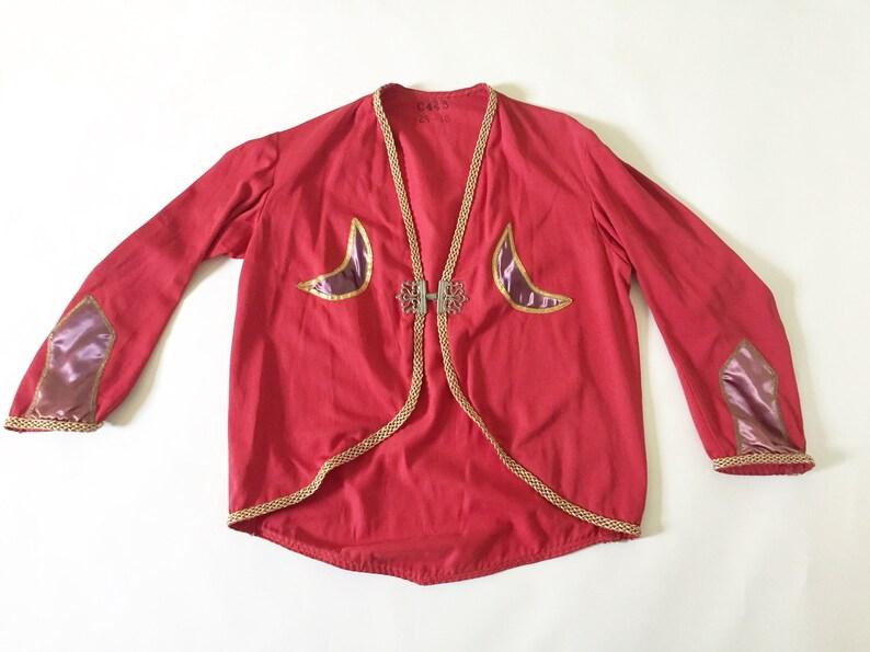 Vintage Masonic Freemason Scottish Rite crescent moon fraternal ceremonial  lodge uniform / Antique costume red twill