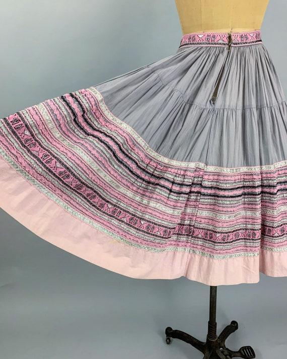 Vintage 50s circle patio skirt | 1950s pink & sil… - image 8