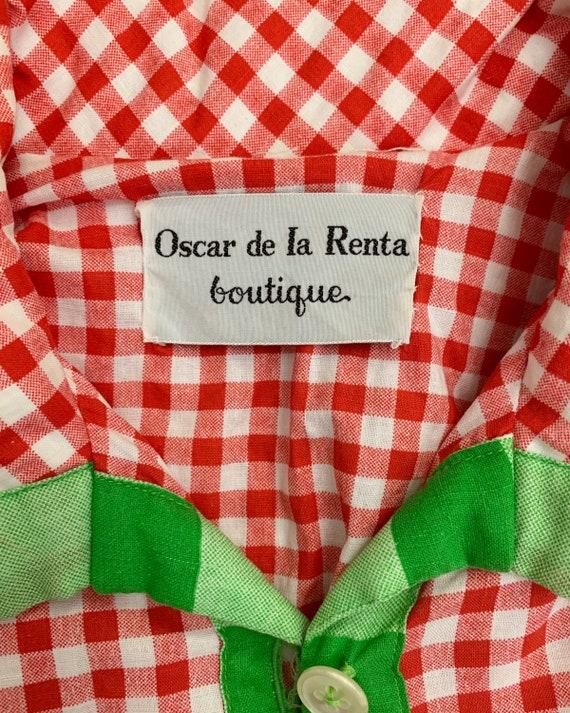Vintage 70s Oscar de la Renta Boutique gingham dr… - image 2