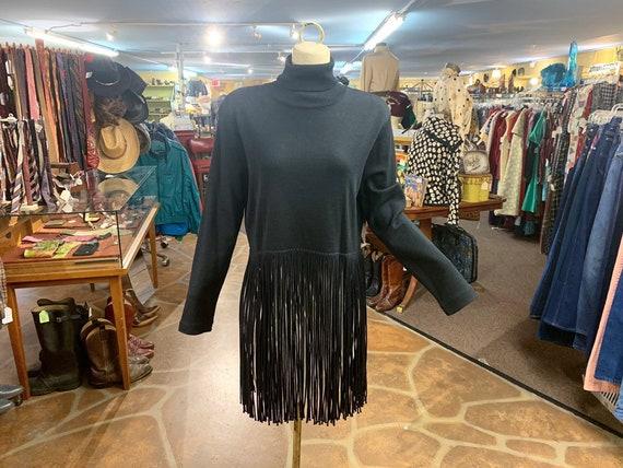 1980s 1990s Andrea Jovine black wool turtleneck sweater with long fringe Vintage 80s wool fringe sweater