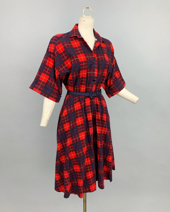 Vintage 80s does 50s plaid flannel dress | 1980s … - image 4