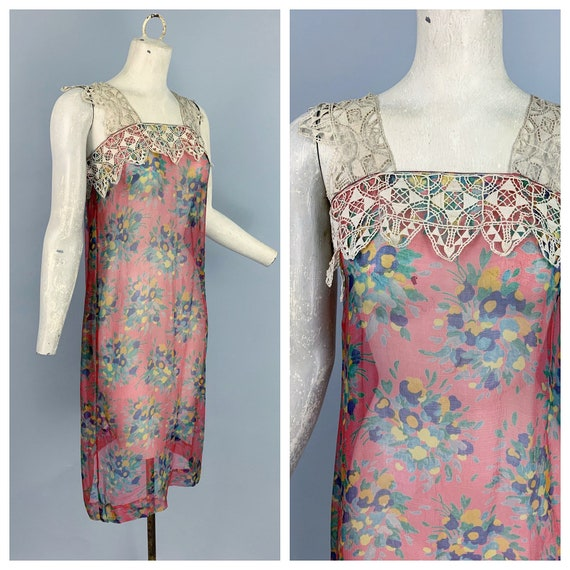 Vintage 20s silk chiffon floral dress with lace st