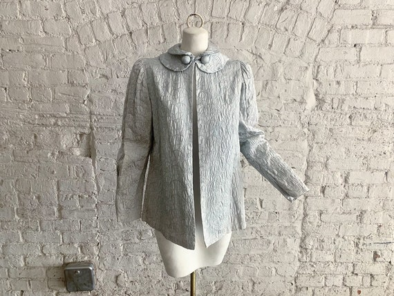 Vintage 30s silver brocade jacket | 1930s embroide