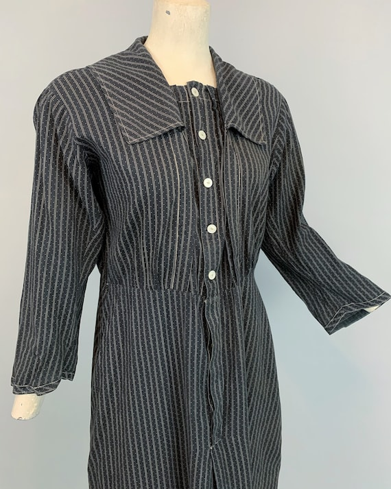 Antique 1900s 1910s calico work dress   Victorian… - image 5