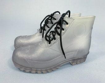 Vintage 90s clear boots | 1990s Regia clear lace-up plastic rubber vinyl rain snow combat hiking punk boots