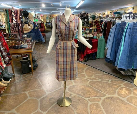 Vintage 40s plaid cotton two piece skirt set | 194